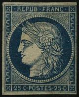 (*) N°4 25c Bleu, Neuf Sans Gomme, Petite Marge à Droite - B - France