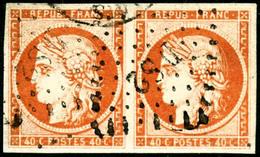 Oblit. N°5a 40c Orange Vif, Paire Obl DS2 - TB - France