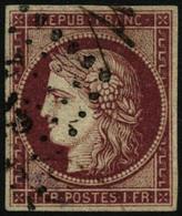 Oblit. N°6 1F  Carmin Foncé, Signé Brun - TB - France