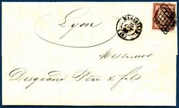Lettre N°6 1F Carmin S/lettre, Obl Grille S/lettre - TB - France