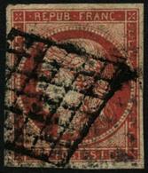 Oblit. N°7a 1F Vermilon - TB - France