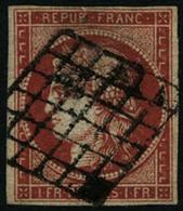 Oblit. N°7a 1F Vermillon Vif, Petite Fente Dans La Marge Au Niveau Du B De République, Belle Présentation - B - France