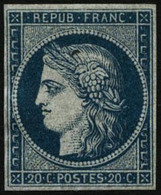 (*) N°8b 20c Bleu S/azuré, Normalement Sans Gomme - TB - France