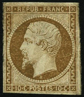(*) N°9 10c Bistre, NSG Un Des Timbres Les Plus Rares De France - TB - 1852 Louis-Napoleon