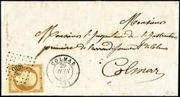 Lettre N°9 10c Bistre Sur Devant De Lettre Obl PC 908 - TB - 1852 Louis-Napoleon