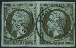 Oblit. N°11 1c Olive, Paire - TB - 1853-1860 Napoleon III