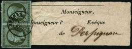 Oblit. N°11 1c Olive, Paire Obl CàD Sur Bande Journal - TB - 1853-1860 Napoleon III