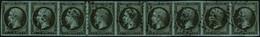 Oblit. N°11a 1c Bronze, Exceptionnelle Bande De 9 Obl PC 2758, Très Rare Pièce D'exposition - TB - 1853-1860 Napoleon III