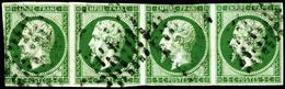 Oblit. N°12 5c Vert, Bande De 4 Au Filet Par Endroits, Jolie Nuance - B - 1853-1860 Napoleon III