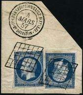 Oblit./fragment N°14A 20c Bleu, Type I - TB - 1853-1860 Napoléon III