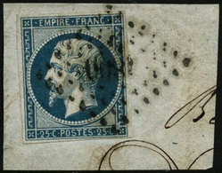 Oblit./fragment N°15 25c Bleu S/fgt - TB - 1853-1860 Napoleon III