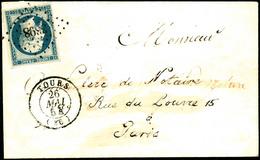 Lettre N°15 25c Bleu, Obl PC 3398 S/lettre 26/5/54 De Tours Pour Paris - TB - 1853-1860 Napoleon III