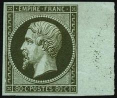 N°17 80c Vert Foncé (essai), Signé Calves - TB - 1853-1860 Napoleon III