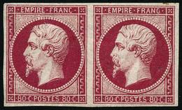 ** N°17B 80c Rose, Paire Infime Froissure De Gomme Verticale Sur 1ex RARE - B - 1853-1860 Napoleon III