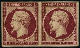 ** N°18 1F Carmin, Infime Froissure De Gomme Diagonale RARE - B - 1853-1860 Napoleon III