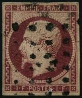 Oblit. N°18 1F Carmin, Certif JF Brun - B - 1853-1860 Napoleon III