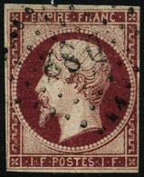 Oblit. N°18 1F Carmin, Beau 2ème Choix Signé Calves - B - 1853-1860 Napoleon III