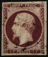 Oblit. N°18a 1F Carmin Foncé, Certif Calves - TB - 1853-1860 Napoleon III