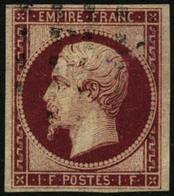 Oblit. N°18g 1F Velours, Nuance Exceptionnelle, Pièce D'amateur RARE - TB - 1853-1860 Napoleon III