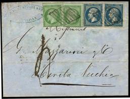 Lettre N°20 + 22 Combinaison Rare à 50c Taxée Pour Civita Vecchia - TB - 1862 Napoleon III