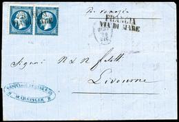 Lettre N°22 20c Bleu, Paire Obl Francia/via Di Maré Sur Lsc Pour Livourne - B - 1862 Napoleon III