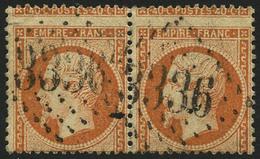 Oblit. N°23 40c Orange, Paire Spectaculaire Piquage à Cheval - TB - 1862 Napoleon III