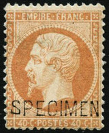 * N°23d 40c Orange, Surchargé Specimen Quasi SC - TB - 1862 Napoleon III
