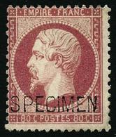 ** N°24d 80c Rose, Surchargé Spécimen - TB - 1862 Napoleon III