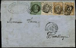 Lettre N°25 + 27 Et 36 X2  Obl GC 3987 Càd  Tourcoing 12/9/71 - TB - 1863-1870 Napoleon III With Laurels