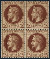 **/* N°26 2c Rouge Brun, Bloc De 4 Infime Trace Sur La Paire Supérieure - TB - 1863-1870 Napoleon III With Laurels