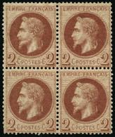* N°26 2c Rouge Brun, Bloc De 4 - TB - 1863-1870 Napoleon III With Laurels