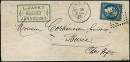 Lettre N°44B 20c Bleu S/lettre De Jarnac 28/04/71, Signé Brun - TB - 1870 Emission De Bordeaux