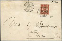 Lettre N°27 1pi Sur 15c Vermillon S/lettre (pli) Obl Beyrouth 17/01/05 Pour Rouen, Cachet D'arrivée Au Verso 25/1/05, - Levant (1885-1946)