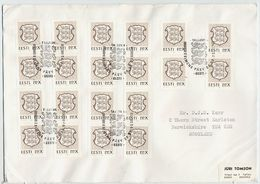 ESTONIA 1992 Definitive PPX (brown) X 20 On Cover With First Day Postmark.. Michel 186 - Estonia