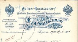 Lettonie - Riga - Entête 1901 - A.Wolfschmidt -Actien-Gesellschaft Der Hefefabrik Branntweinbrennerei Spritrectification - Fatture & Documenti Commerciali