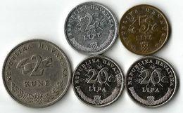 Lot 5 Pièces De Monnaie  2 - 5 - 20  Lipa Et 2 Kune - Croatie