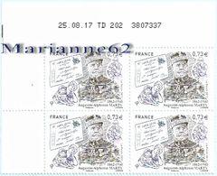"""France 2017 TPx4 """" Augustin-Alphonse Marty 1862-1940 """" - WW1 Légion D'Honneur ENSPTT (TD 202 3807337)  MNH-Coin Daté - Coins Datés"""