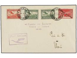 1 ALBANIA. 1925 (30-V). TIRANA A VALONA. <B>PRIMER VUELO</B>, Marca En El Frente Y Llegada Al Dorso. (Mu. Nº 3). - Stamps