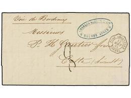 4 ARGENTINA. 1865. BUENOS AIRES A FRANCIA. Fechador Octogonal Marítimo Francés <B>CONF. ARGENTINE/CARMEL. </B>PRECIOSA. - Stamps