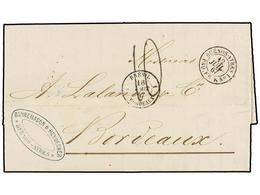 5 ARGENTINA. 1867. BUENOS AYRES A FRANCIA. Fechador Marítimo Francés <B>BUENOS AYRES/PAQ. FR. K Nº 1.</B> PRECIOSA. - Stamps