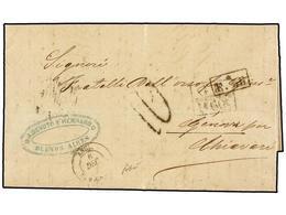 6 ARGENTINA. 1869. ARGENTINA A GÉNOVA. Circulada Por El Correo Británico, Marcas De Intercambio<B> GB/1F 60c.</B> Y<B> F - Stamps