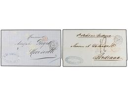 7 ARGENTINA. 1870-72. ARGENTINA A FRANCIA. Dos Cartas Con Fechadores Octogonales Marítimos Franceses <B>BUENOS AYRES/PAQ - Stamps