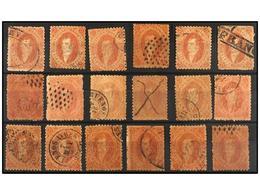 10 ° ARGENTINA. Kn.20 (36). <B>5 Cts.</B> Rojo <B>TERCERA TIRADA.</B> Conjunto De 36 Sellos, Diversos Tonos De Color Y M - Stamps