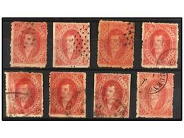 11 ° ARGENTINA. Kn.23b, 23c (8). <B>5 Cts.</B> Rojo <B>CUARTA TIRADA</B>. Conjunto De 8 Sellos <B>DOBLE IMPRESIÓN</B> To - Stamps
