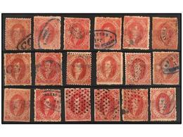 12 ° ARGENTINA. Kn.23 (31). <B>5 Cts.</B> Rojo <B>CUARTA TIRADA</B>. Conjunto De 31 Sellos, Distintos Tonos De Color Y M - Stamps
