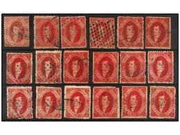13 ° ARGENTINA. Kn.24 (34). <B>5 Cts.</B> Rojo <B>QUINTA TIRADA</B>. Conjunto De 34 Sellos, Diversos Tonos De Color Y Ma - Stamps