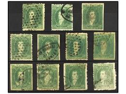 14 ° ARGENTINA. Kn.21 (11). <B>10 Ctvos.</B> Verde. Conjunto De 11 Sellos, Diversos Tonos De Color Y Matasellos. - Stamps