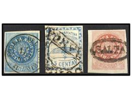 15 ° ARGENTINA. Sc.3,5,7. 1858-62. <B>5 Ctvos.</B> Rosa, <B>15 Cts.</B> Azul Y <B>15 Ctvos.</B> Azul. Tres Muy Bonitos E - Stamps