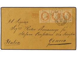 16 ARGENTINA. 1870. B. AIRES A GENOVA. Circulada Con Sellos Franceses De <B>40 Cts.</B>(3) (un Sello Defecto) Para Hacer - Stamps
