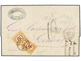 17 ARGENTINA. 1872. BUENOS AIRES A GÉNOVA. Fechador Octogonal <B>BUENOS AYRES/PAQ. FR. J</B> <B>nº 5, </B>marca De Inter - Stamps